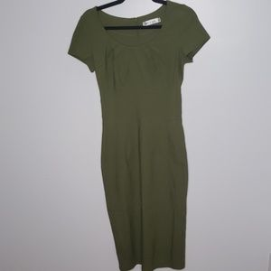 Green Plated Neckline Bodycon Dress, Size Small